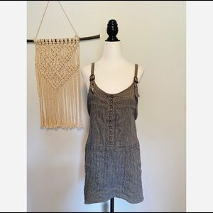 Free People women's grey Jumper Dress boho denim
